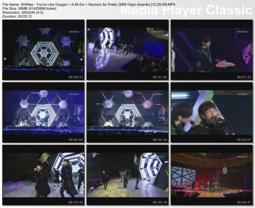 SHINee - You're Like Oxygen + A.Mi.Go + Noona's So Pretty (SBS Gayo Awards) [12.29.08]